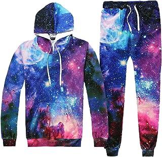 Ffox Men's 3D Space Printed Hedging Hoodies Sweatshirts Sweatpants Set