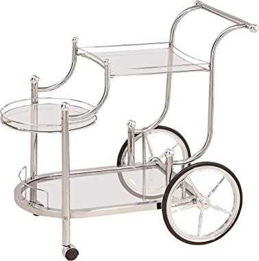 Coaster Home Furnishings CO- Wheeled Serving Cart with Finials, Chrome and Clear