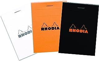 Set of 3Rhodia Top Staplebound No 11グラフメモ帳(3x 4)ブラック、ホワイト、オレンジ