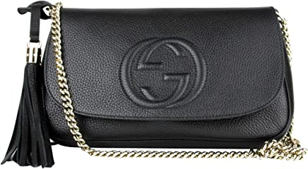fa1f4812e9ce Gucci Interlocking GG Black Leather Chain Strap Flap Shoulder Bag 336752  1000