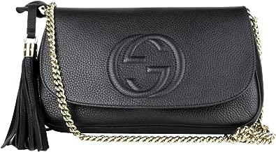 Gucci Interlocking GG Black Leather Chain Strap Flap Shoulder Bag 336752 1000