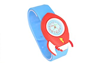 My First Tic-Toc Rocket Ship Slap Bracelet Watch for Kids - Fun, Easy to Learn Time Teacher for Children, Soft Blue Silicone Band, Perfect Gift for Boys and Girls with 2 Year Warranty - by Speidel