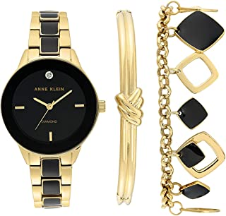 Anne Klein Women's Genuine Diamond Dial Watch and Bracelet Set, AK/3348