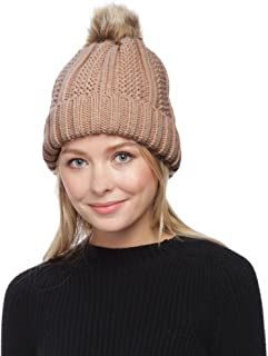 APPARELISM Women's Winter Thick Knitted Plush Lining Pom Pom Beanie Hat.