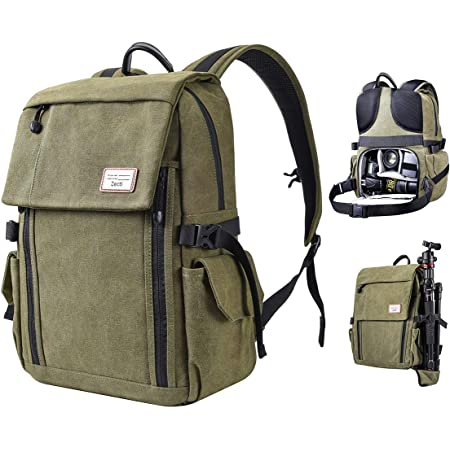 Zecti Camera Backpack, Waterproof Canvas DSLR Camera Bag for Laptop Hiking Travel Compatible for Sony Canon Nikon Camera and Lens Tripod Accessories with Rain Cover Fathers' Gift-Green