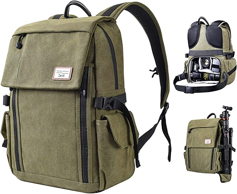Zecti Mochila profesional antigolpes para cámara DSLR Canon-Nikon-Sony Mochila fotografia con protector de lluvia