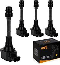 QYL Pack of 4 Ignition Coils Replacement for Nissan Altima Sentra X-Trail 2002 2003 2004 2005 2006 2007 2008 2.5L UF350 22448-8H315 22448-8H310 C1398 UF-350