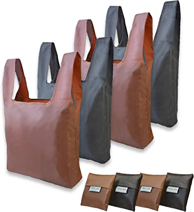 Reusable Grocery Bags Brown and Black Oxford Fabric - set of 4 Pack - Foldable Shopping Tote Bag with Carrying Pouch - Washable - Strong and Compact