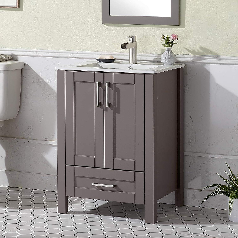 Buy Engelch Modern Small Bathroom Vanity 24 Inch 2 Doors Grey Bathroom Cabinet Set With Sink Combo Wood Storage Cabinet With Single Hole Undermount Ceramic Sink Online In Turkey B08xw3x4c9