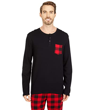 Little Blue House by Hatley Buffalo Plaid Waffle Henley (Black) Men