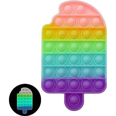 Luximi - Pop it Fluo Cornet de glace - Poppit arc en ciel pastel - fluorescent lumineux la nuit - pop -it phosphorescent - Fidget toys - Popit jeu anti stress enfant - Push pop bubble ice cream bulles