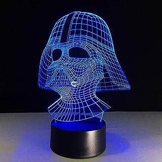 Luz de noche 3D Luz de noche LED de 7 colores 3D USB Darth Vader Star Wars Lámpara de escritorio Iluminación del sueño del bebé Decoración Lámpara de cabecera Niños Regalo creativo-Interruptor tá