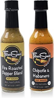 Fresco Sauce - Two Pack Combo - Fire Roasted Pepper Blend - Chipotle & Habanero - Flavorful Hot Sauces - All Natural- Vegan - Gluten Free - 5 fl oz - A Perfect Hot Sauce Variety Pack