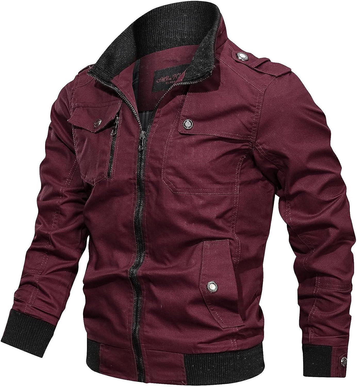 Men's Autumn And Winter Tooling Wind Jacket Zipper Coat Lightweight Outdoor Coat Stand Collar Windbreaker Jacket
