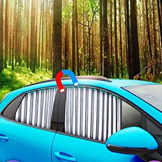Ovege Car Window Shade -Car Side Window Sun Shade Car Curtain Pleated Silky UV Protection Privacy Baby Suction Magnetic (S...