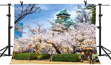 MME 10x7Ft Cherry Blossoms Photography Background Japanese Architecture Backdrop Spring Photo Video Studio Props GEME376