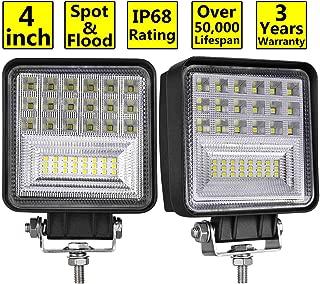 LED Pods, Moso LED 2 pcs 4 inch LED Fog Light Philips Spot Flood Combo Light Cube Light Work Light Driving Light LED Light Bar for Truck ATV UTV SUV Marine Boat Jeep Tractor, 3 Years Warranty
