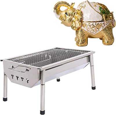 ISUMER Charcoal Grill Barbecue Portable BBQ - Stainless Steel Folding BBQ Kabab Grill Decorative Vintage Elephant Cigarettes Ashtray Windproof Ashtray
