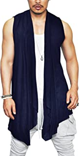 COOFANDY Men's Ruffle Shawl Collar Cardigan Sleeveless Open Front Vest Lightweight Cotton Long Length Drape Cape