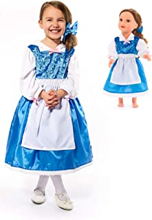 Little Adventures Beauty Day Princess Dress Up Costume with Hairbow & Matching Doll Dress (Medium (Age 3-5))