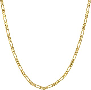 Lifetime Jewelry Gold Necklace for Women and Men - Figaro Chain 2.5mm (1/10 inch) - 20X More 24k Plating Than Other Pendan...