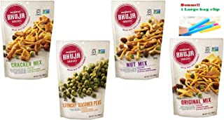 Bhuja Snacks 4 Flavors Variety Pack ( 1 Original Mix, 1 Nut Mix, 1 Cracker Mix, 1 Crunchy Seasoned Peas ) 7 oz Pack of 4 With 1 Snack Clip