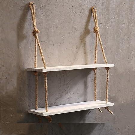 Estante de pared con cuerda de cáñamo 2 niveles Estante de pared de madera Estantes de pared colgante para la sala de estar como estantería de ...