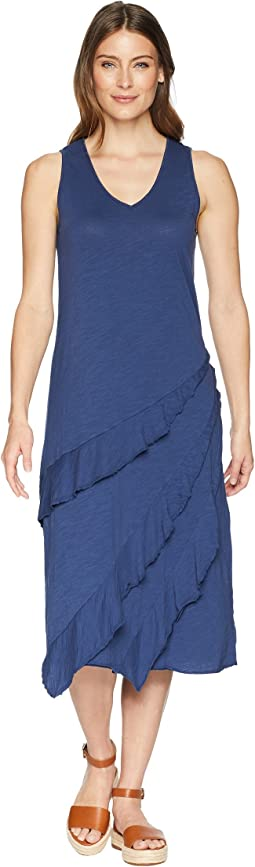 Slub Jersey Easy Fit Tank Dress with Asymmetrical Flounce