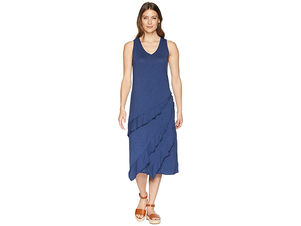 Mod-o-doc Slub Jersey Easy Fit Tank Dress with Asymmetrical Flounce (New Navy) Women