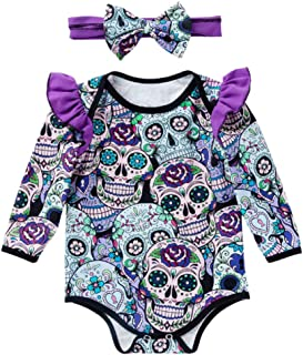 Fairy Baby Newborn Girls 2pcs Halloween Costume Clothes Ruffle Skull Bodysuit+Headband Set