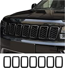 Front Grille Rings Grill Inserts Cover For 2017-2019 Jeep Grand Cherokee Black Grill Frame Trim Kit 7pcs (Carbon Fiber Style)