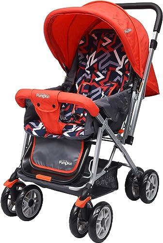 Little Pumpkin Kiddie Kingdom Stroller and Pram for Baby|Kids|Infants|New Born|Boy|Girl of 0 to 3 Years((Red Black)