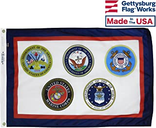 3x5' Armed Forces Multi Service Military Flag, Outdoor All Weather Nylon, Made in USA