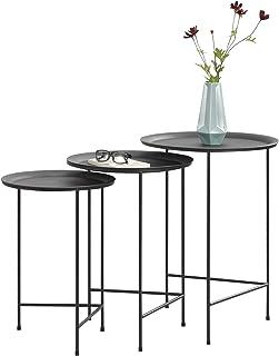 [en.casa] Set de 3 Mesas de Centro 50cm x 35cm 55cm x 40cm 60cm x 45cm Mesa Auxiliar de Salón Mesa de té Mesa de café Negro