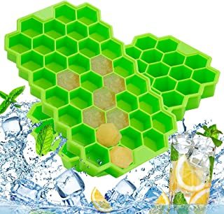 Silicone Ice Cube Trays with Lids, LivingAid Easy-Release Ice Cube Molds Flexible Ice Cube maker 74-Ice Cube 2 Packs BPA Free for Cocktail, Whiskey, Baby Food, Chocolate (2, Green)