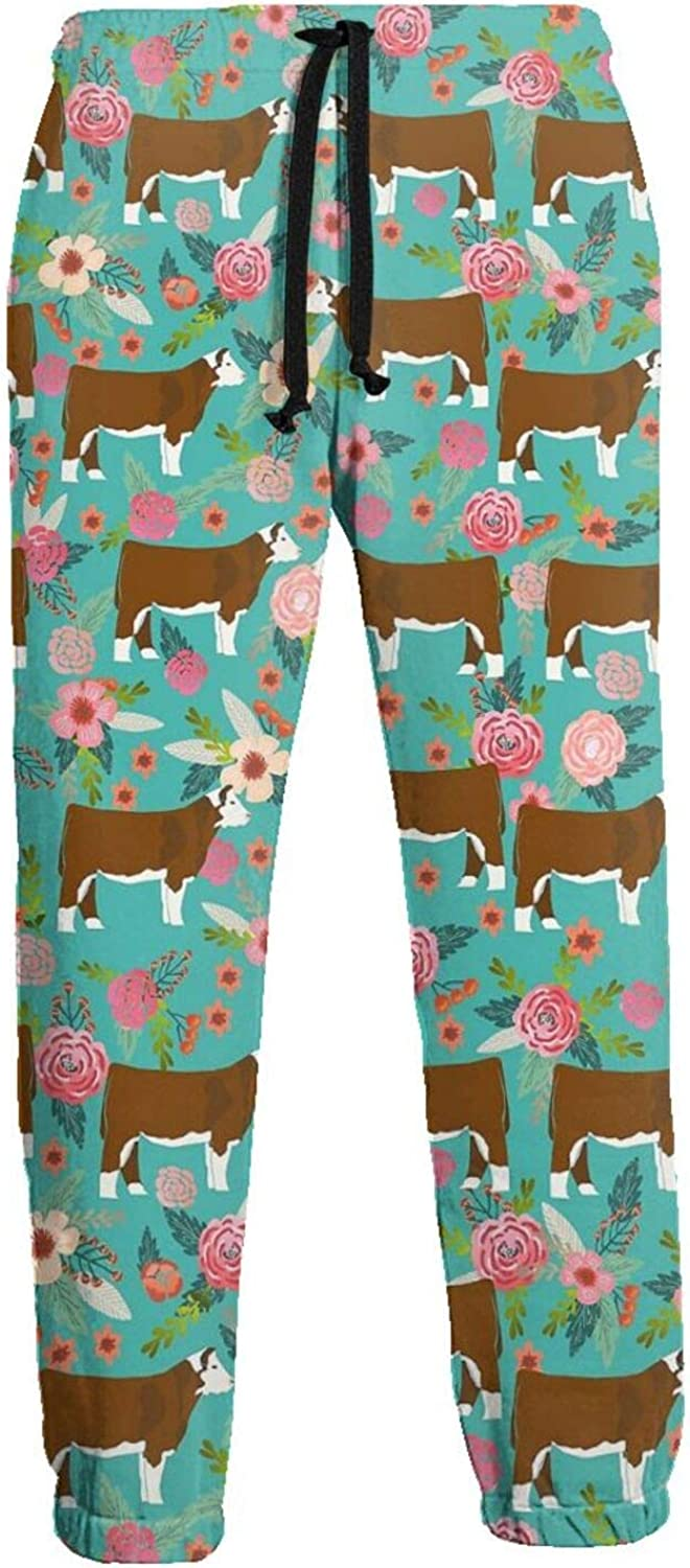 Active Sweats Jogger Pants Hereford Cow Beautiful Florals Running Joggers Casual Sweatpants for Men Women
