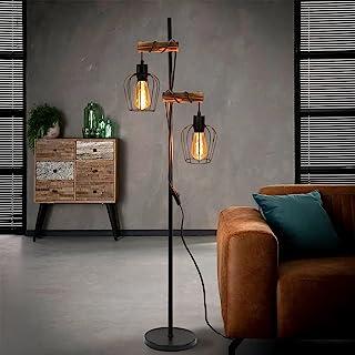 ZMH Lampadaire vintage pour salon - 2 lampes - En bois - Design industriel - En métal et bois - Avec interrupteur - Noir -...