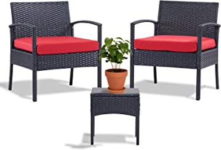 Outdoor Chairs Set Bistro Set 3 Pieces Patio Conversation Set Furniture Set for Small Balcony Rattan Chairs and Table with...