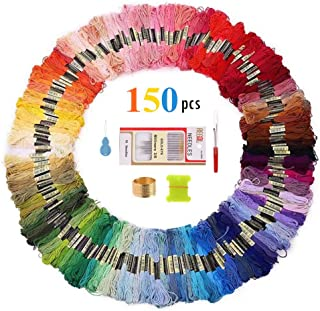 Embroidery Floss – Sotica 150 Skeins Embroidery Floss with 16 Pcs Embroidery Needles,Friendship Bracelet String,Cross Stitch Threads and Cross Stitch Tool Kit, Perfect Embroidery
