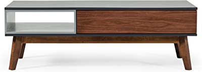 Limari Home Batz Collection Modern Style Living Room Painted Coffee Table With Drawer, Compartment & Wood Legs, Gray & Walnut