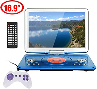 ZUZU 16.9 Inch Portable DVD Player, Rotatable Screen Multi Media DVD for Game TV Function Support MP3 MP4 VCD CD Player for Home and Car