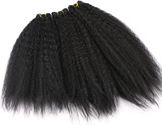 Synthetic Hair Bundles Kinky Straight Hair Weave 3Pcs/Pack 16 18 20 Inches Color 1B Natural Black 210Gram (1 Pack Solution)