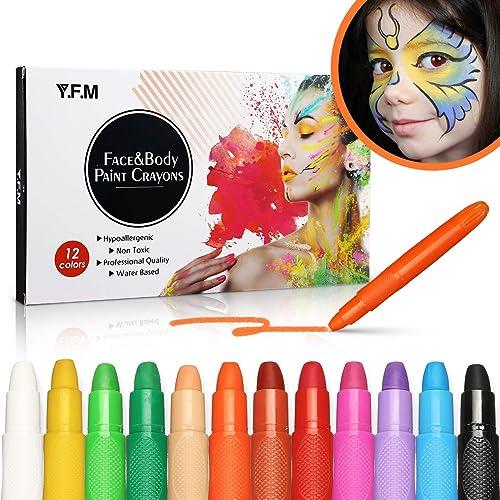 Y.F.M 12 Colores Pinturas Faciales y Corporales, Lapices Faciales - Kit de Decoración de Halloween, Maquillaje Navidad y Fiestas - No Tóxico, Adecuado para Embarazadas y Niños product image