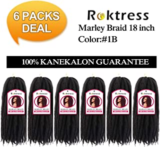 Roktress Marley Hair For Twists Marley Braiding Hair Marley Braid Crochet Hair Long Afro Kinky Marley Twist Braid Hair Extensions 100% Kanekalon Synthetic Fiber (18