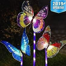 Garden Solar Lights Outdoor - 3 Pack Solar Stake Light Multi-Color Changing LED Garden Lights,Fiber Optic Butterfly Decorative Lights,Outdoor Decor,Garden Lawn Ornaments