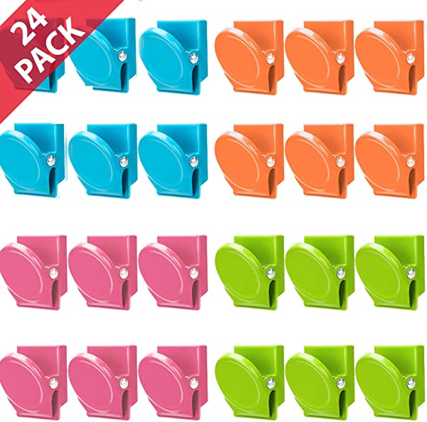 Magnetic Clips 24 Pieces Magnetic Metal Clips Colored Magnetic Metal Clips Perfect Fridge Magnets Kitchen Magnets Whiteboard Magnets Memo Note Clips Magnets Metal Clip