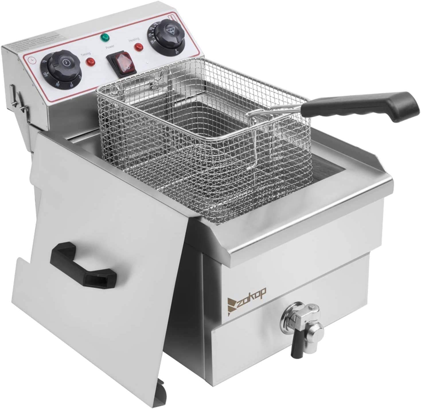 12.5 QT Butterball Electric Turkey Fryer,Stainless Steel Single Tank Deep Fat Fryer with Removable Baskets and Thermostats,Silver