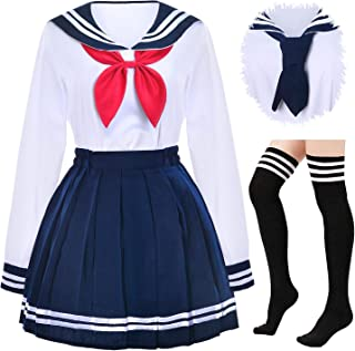 Japanese School Girls Uniform Sailor Navy Blue Pleated Skirt Anime Cosplay Costumes with Socks Set(SSF13)