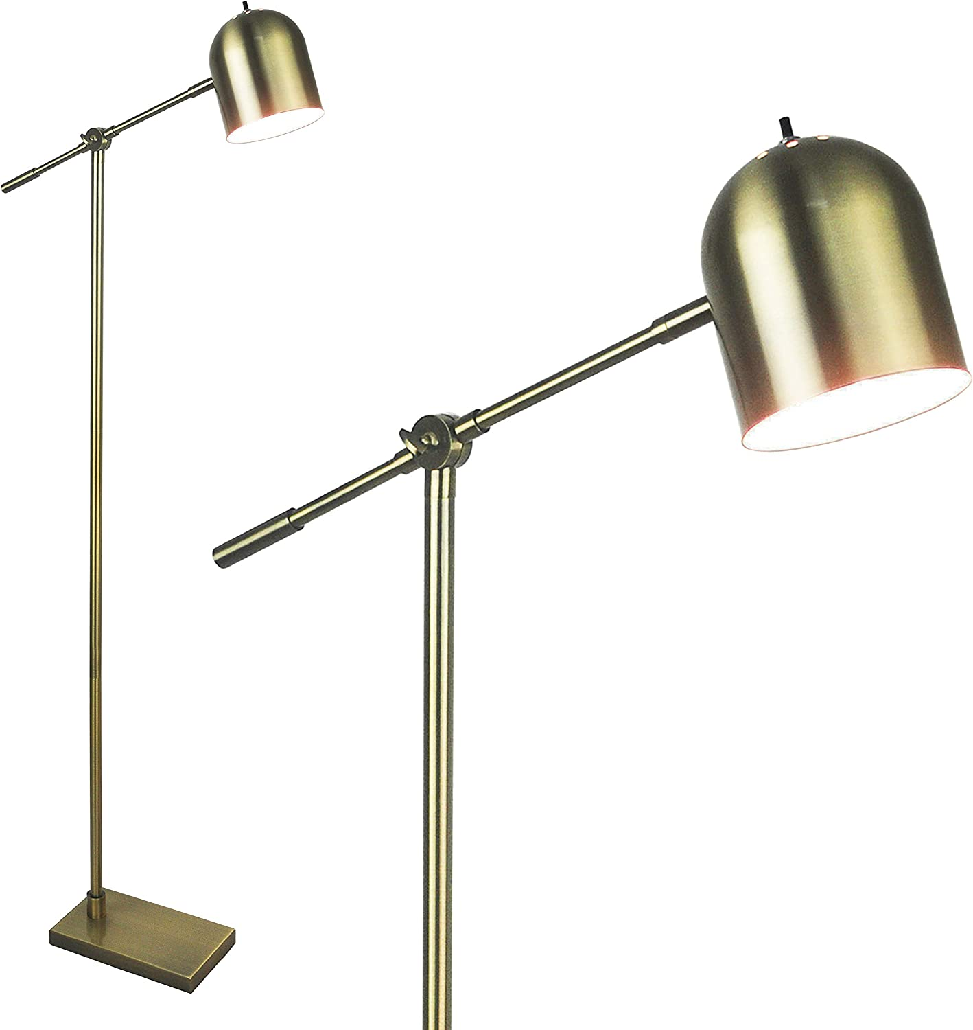 Light Accents Floor Lamp Adjustable Cantilever Modern Bright Standing Lamp Showroom Quality 59  Tall Brushed gold Finish