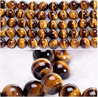 Chengmu 8mm Tiger Eye Beads Natural Gem Round Loose Beads for Jewelry Making for Bracelet Necklace